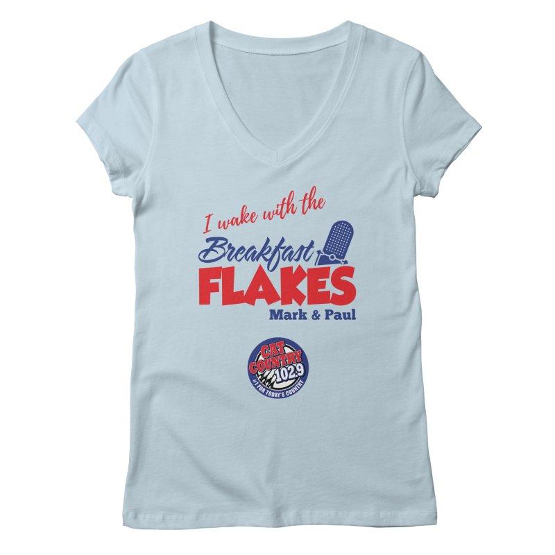 Breakfast Flakes - Cat Country102.9 Women's V-Neck by townsquarebillings's Artist Shop