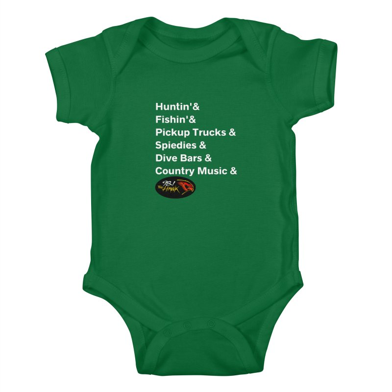 Binghamton List Shirt - 98.1 The Hawk Kids Baby Bodysuit by townsquarebinghamton's Artist Shop