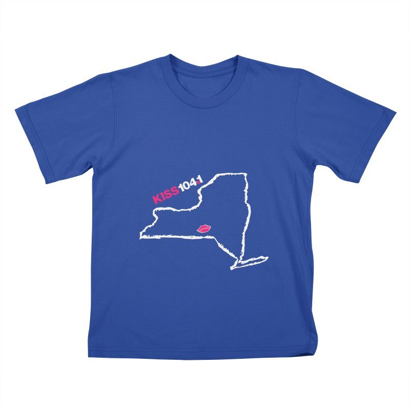 Kiss NYS Outline Kids T-Shirt by townsquarebinghamton's Artist Shop