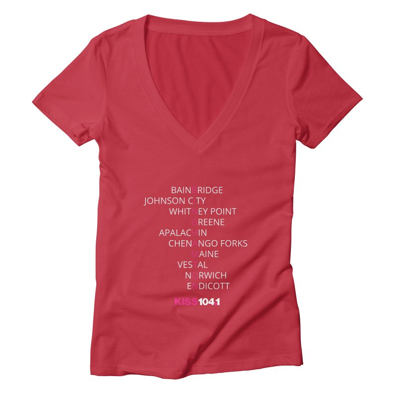 Town Names Crossword - Kiss 104 Women's V-Neck by townsquarebinghamton's Artist Shop