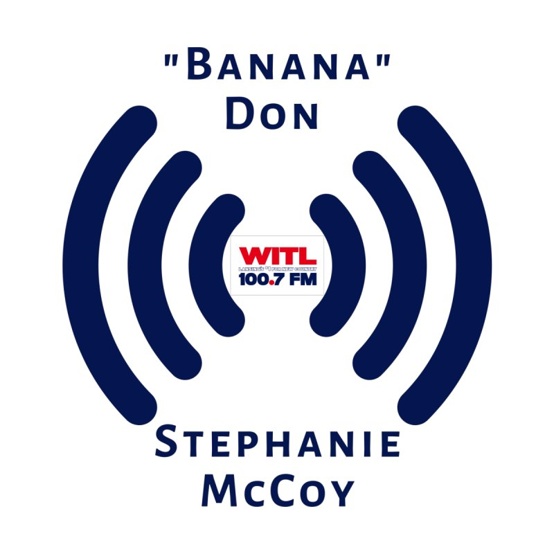 """""""Banana"""" Don & Stephanie Logo Shirt Accessories Sticker by Townsquare Lansing's Artist Shop"""