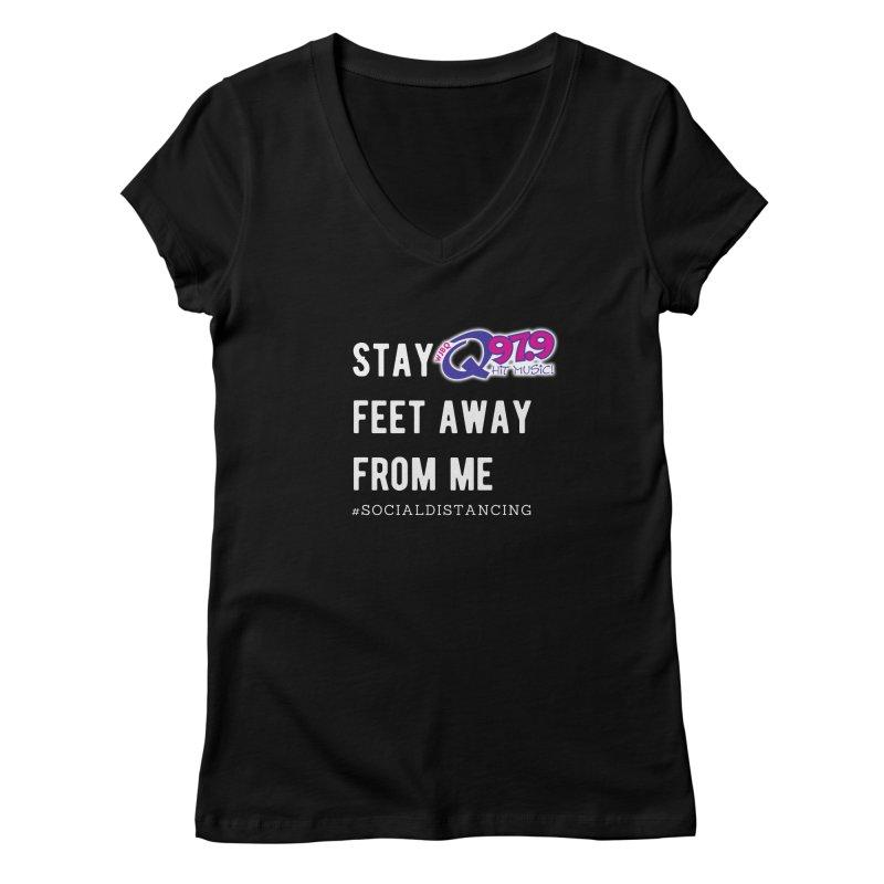 WJBQ Social Distancing Shirt Women's V-Neck by Townsquare Merch