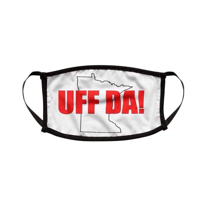 UFF-DA! - white mask Accessories Face Mask by Townsquare Rochester's Artist Shop