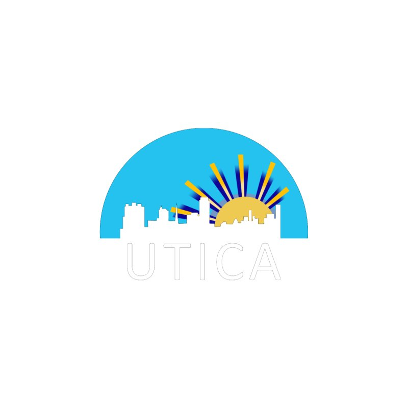 Utica Sign Shirt White Text Men's Pullover Hoody by Townsquare Utica's Artist Shop