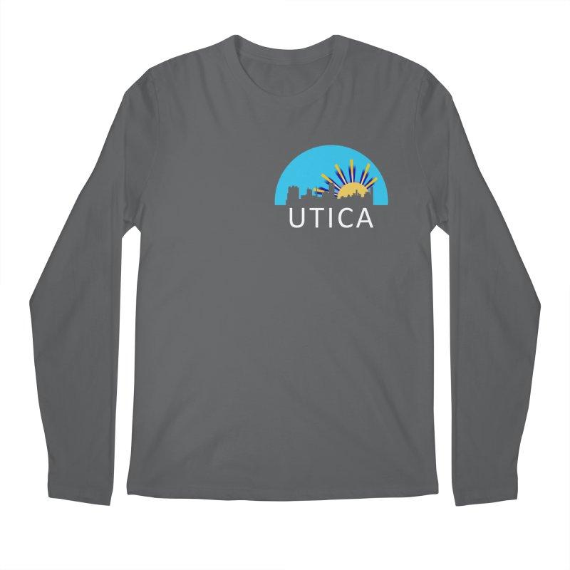 Utica Sign Shirt White Text Men's Longsleeve T-Shirt by Townsquare Utica's Artist Shop