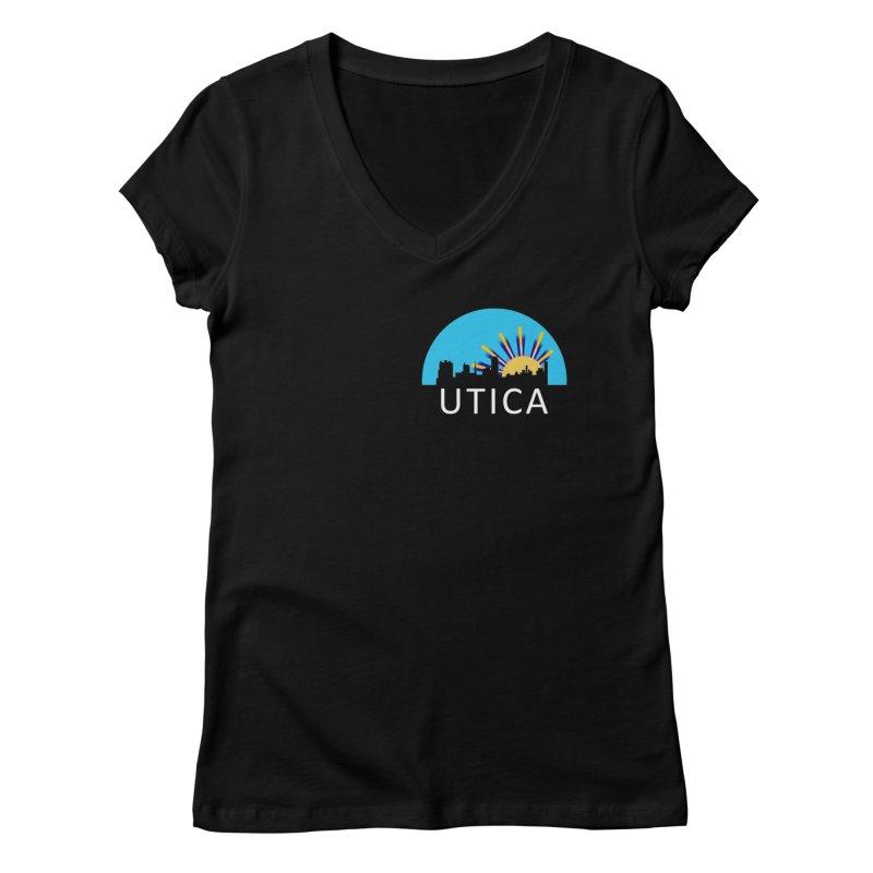 Utica Sign Shirt White Text Women's V-Neck by Townsquare Utica's Artist Shop