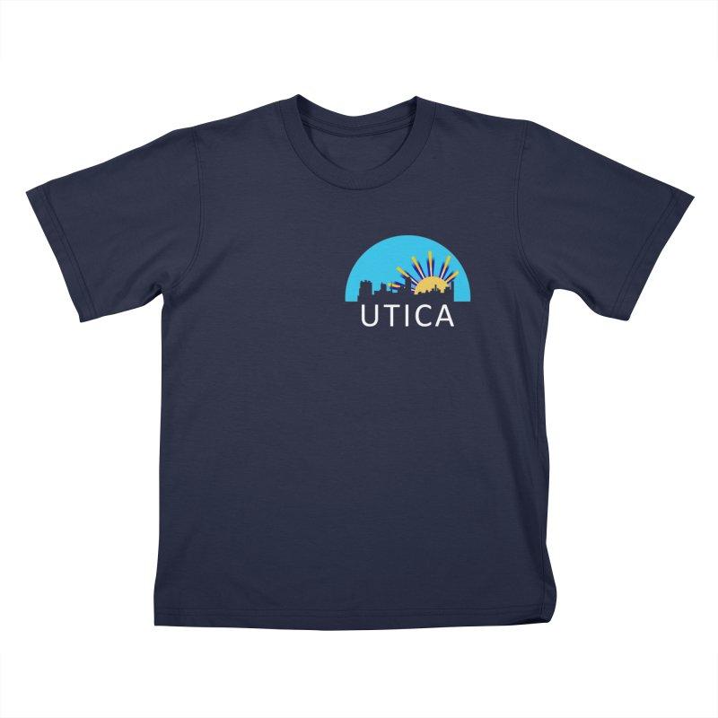 Utica Sign Shirt White Text Kids T-Shirt by Townsquare Utica's Artist Shop
