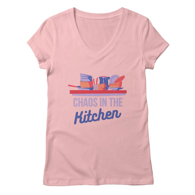 Chaos In The Kitchen Women's V-Neck by Townsquare Utica's Artist Shop