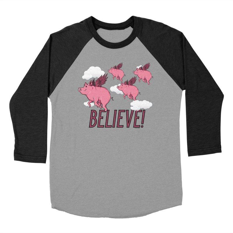 Believe Women's Baseball Triblend Longsleeve T-Shirt by Toxic Onion