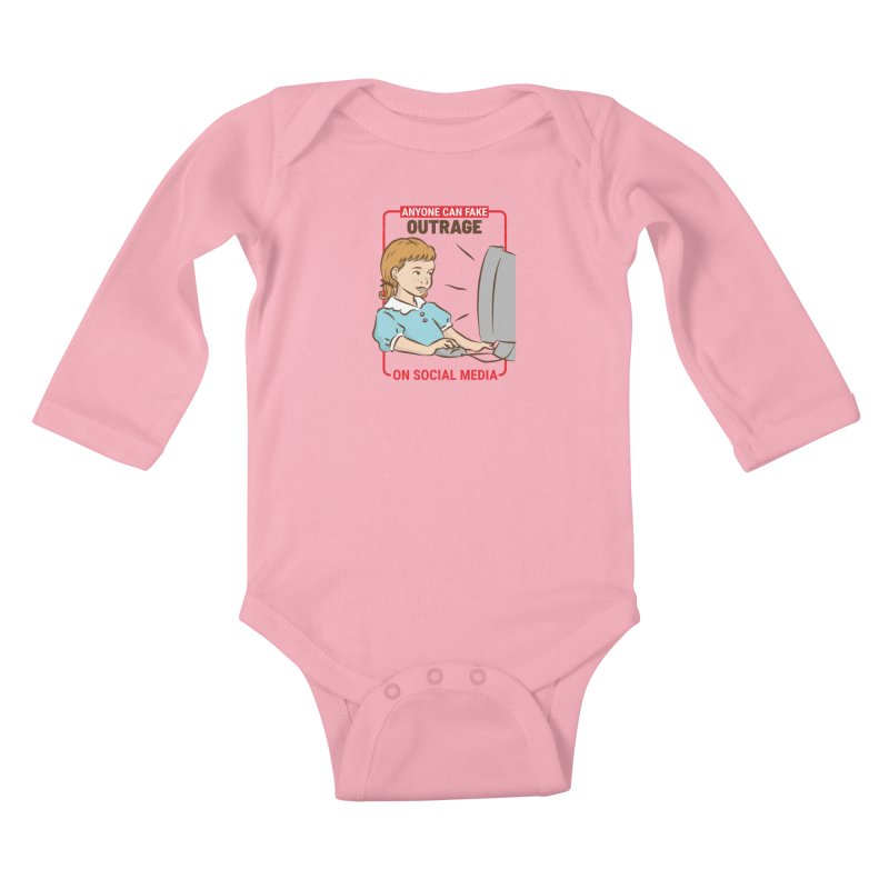 Anyone Can Fake Outrage Kids Baby Longsleeve Bodysuit by Toxic Onion