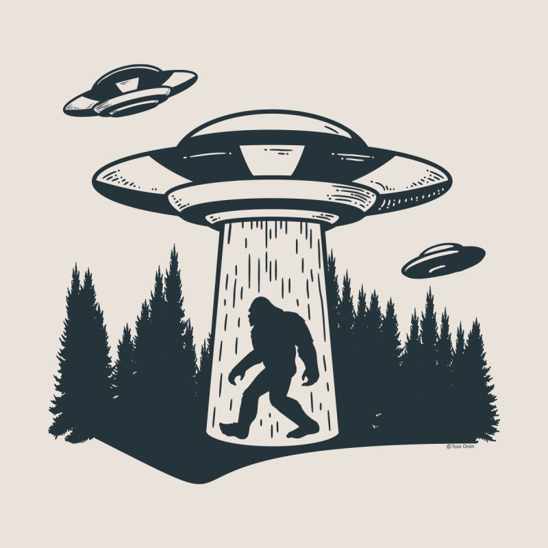 Alien UFO Abduction Of Bigfoot Men's T-Shirt by Toxic Onion