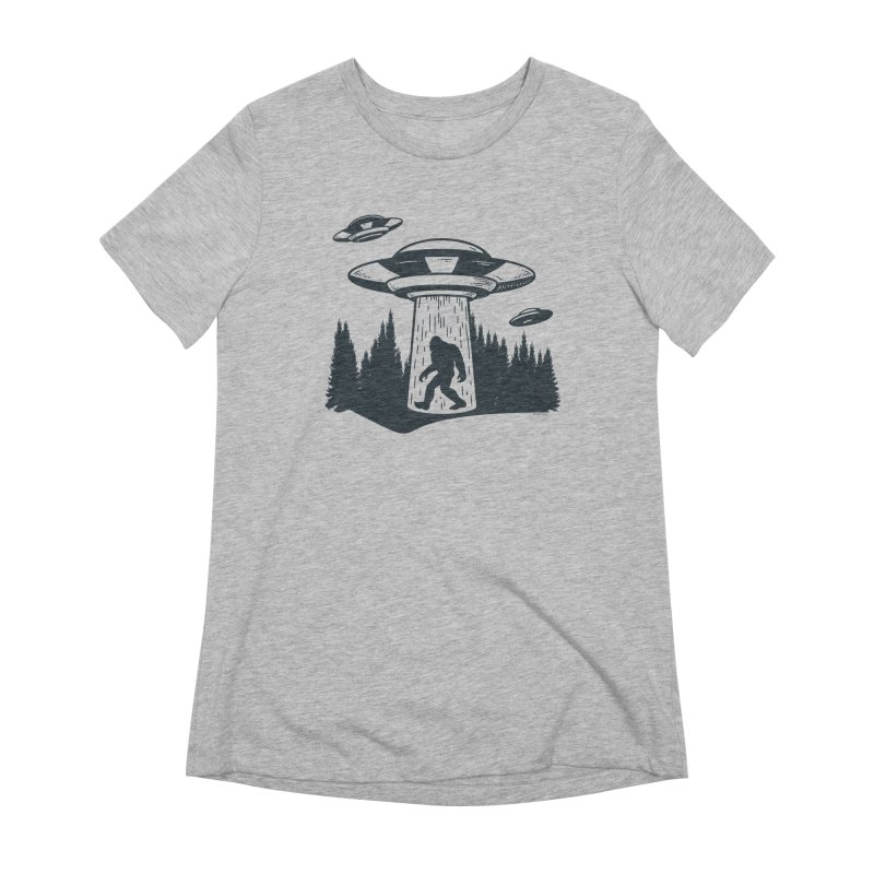 Alien UFO Abduction Of Bigfoot Women's Extra Soft T-Shirt by Toxic Onion