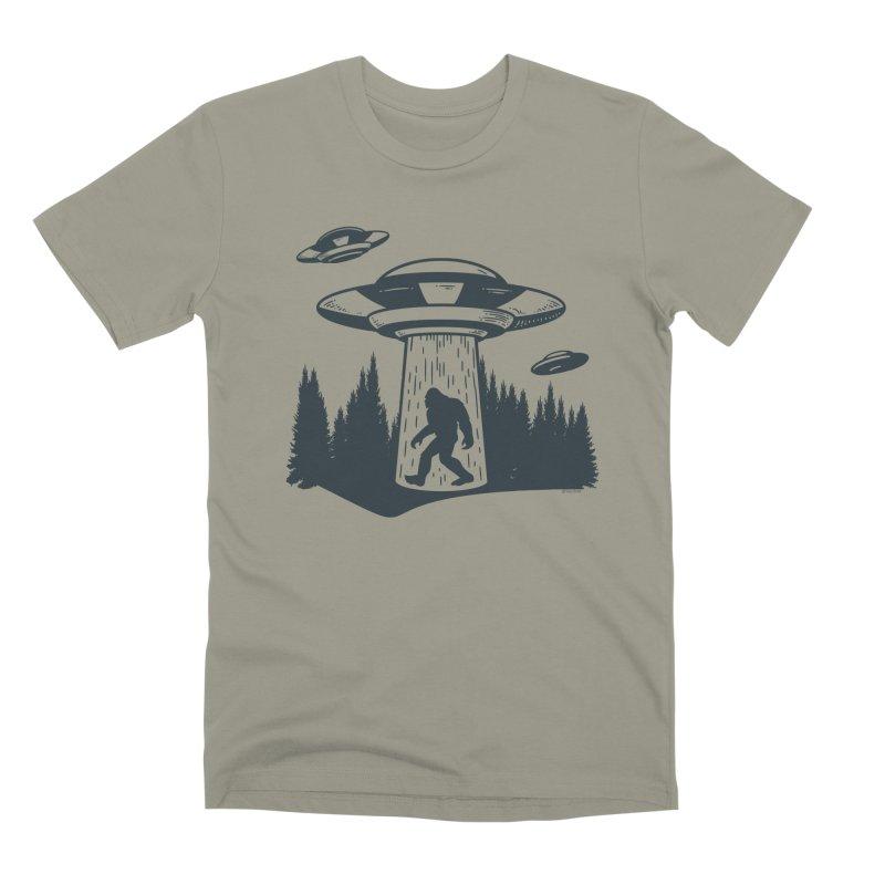 Alien UFO Abduction Of Bigfoot Men's Premium T-Shirt by Toxic Onion