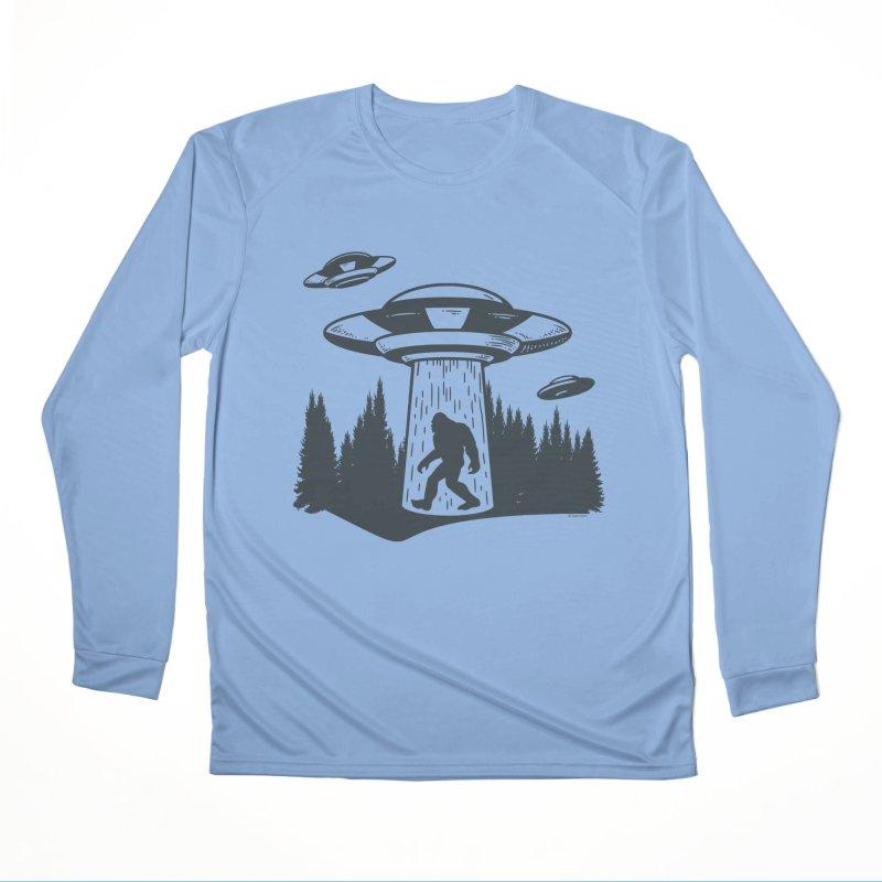 Alien UFO Abduction Of Bigfoot Men's Performance Longsleeve T-Shirt by Toxic Onion