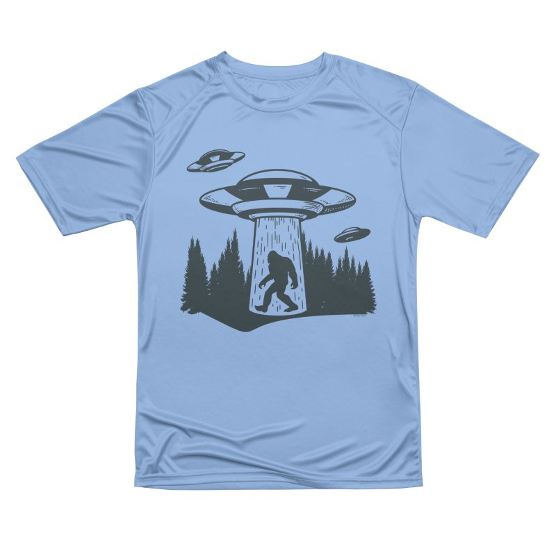 Alien UFO Abduction Of Bigfoot Women's Performance Unisex T-Shirt by Toxic Onion