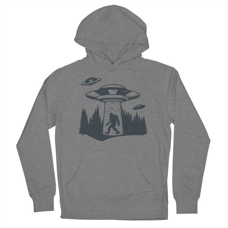 Alien UFO Abduction Of Bigfoot Women's French Terry Pullover Hoody by Toxic Onion