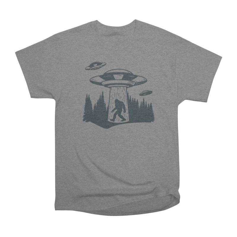Alien UFO Abduction Of Bigfoot Men's Heavyweight T-Shirt by Toxic Onion