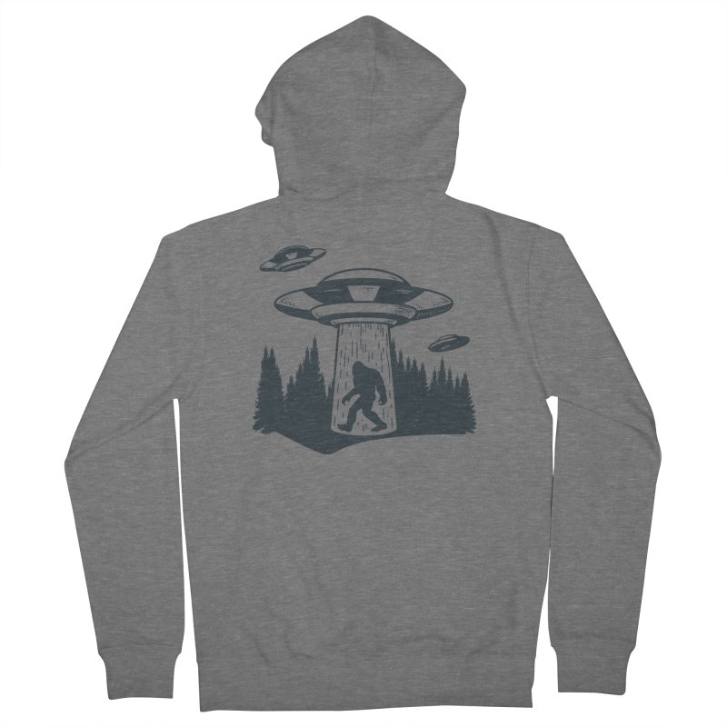 Alien UFO Abduction Of Bigfoot Men's French Terry Zip-Up Hoody by Toxic Onion