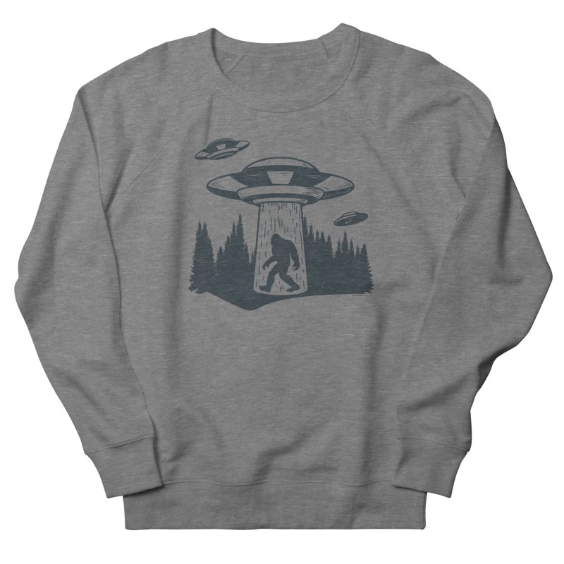 Alien UFO Abduction Of Bigfoot Women's French Terry Sweatshirt by Toxic Onion