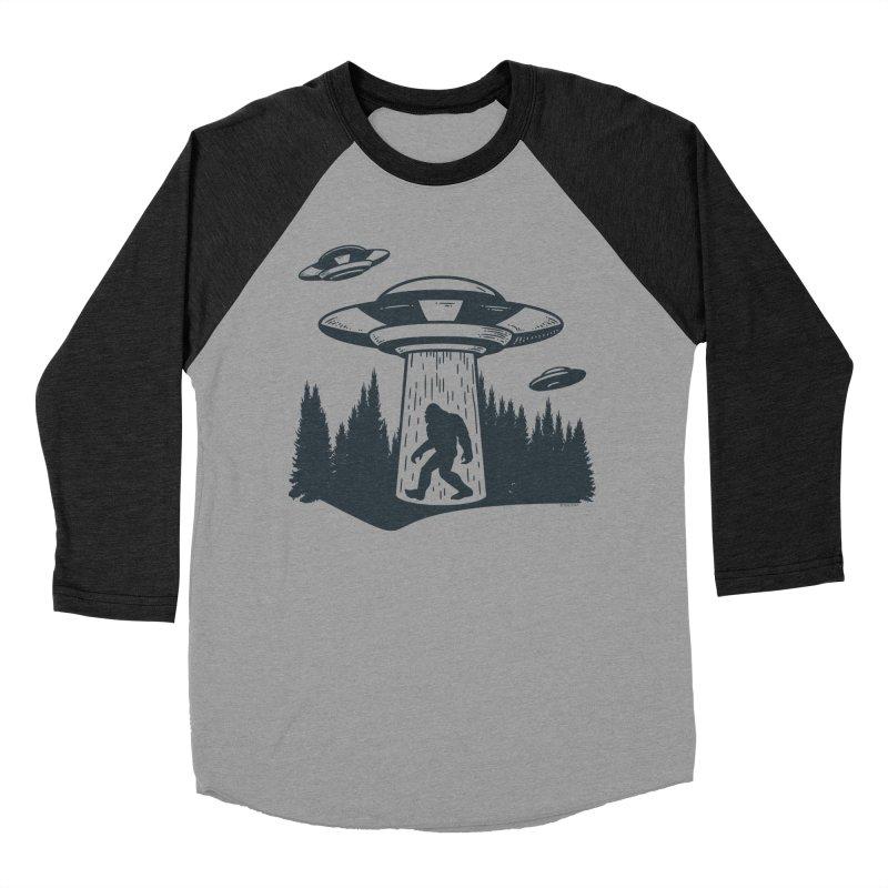 Alien UFO Abduction Of Bigfoot Men's Baseball Triblend Longsleeve T-Shirt by Toxic Onion