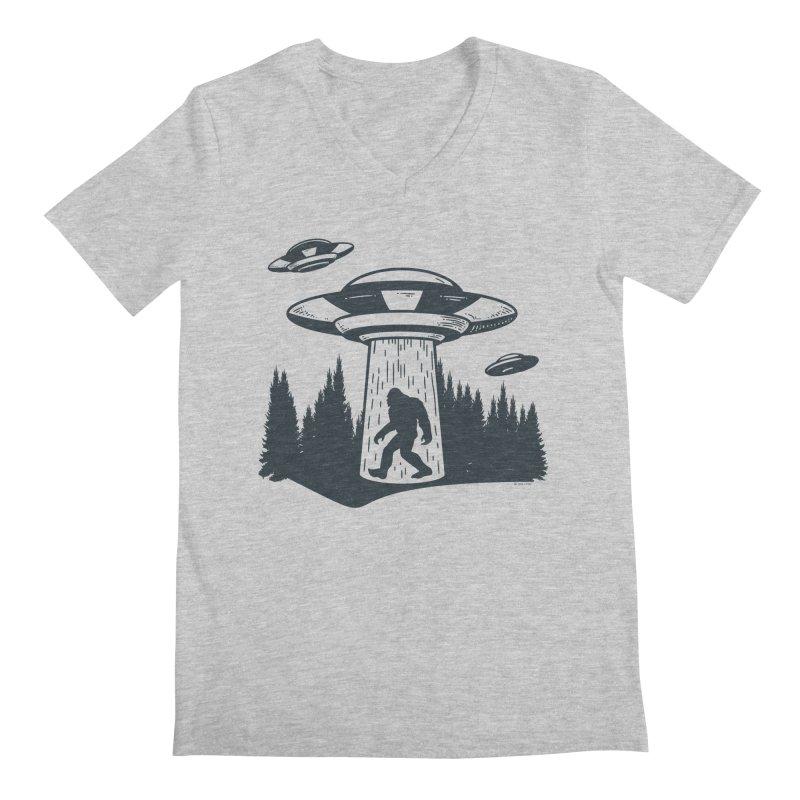 Alien UFO Abduction Of Bigfoot Men's Regular V-Neck by Toxic Onion