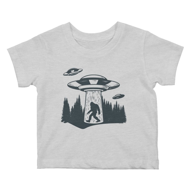 Alien UFO Abduction Of Bigfoot Kids Baby T-Shirt by Toxic Onion