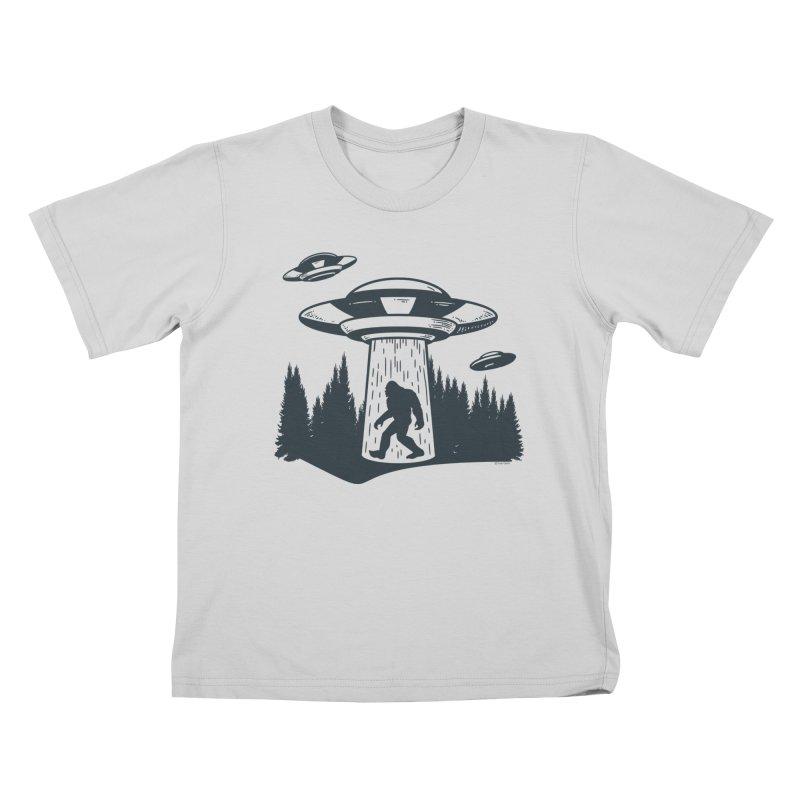 Alien UFO Abduction Of Bigfoot Kids T-Shirt by Toxic Onion