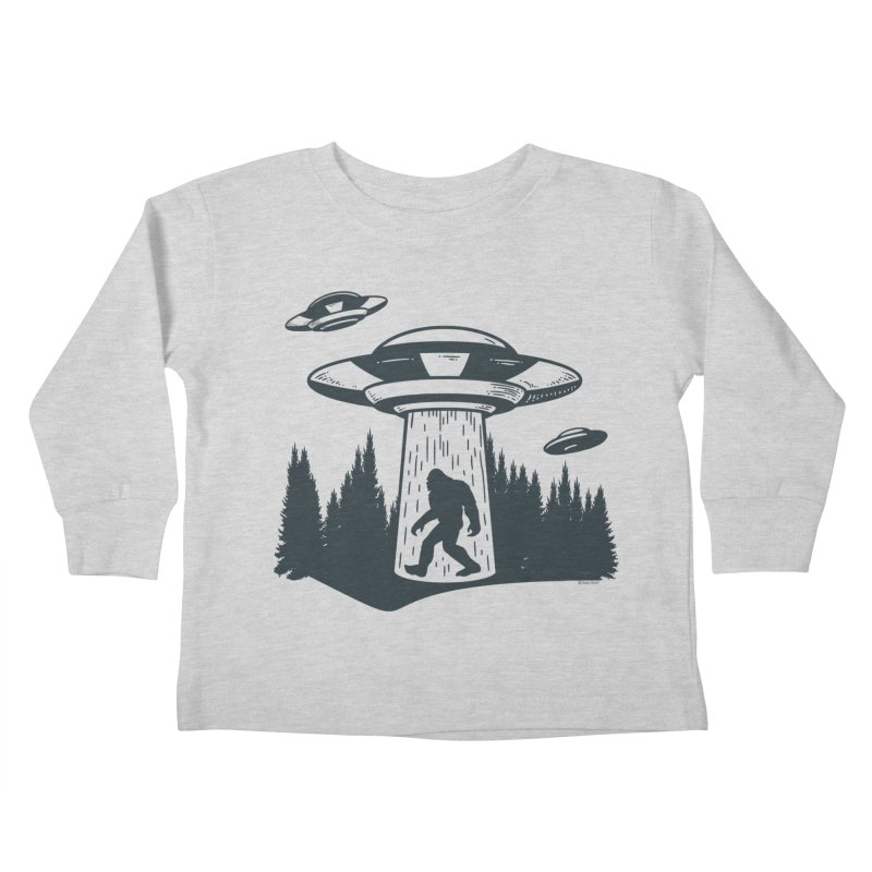 Alien UFO Abduction Of Bigfoot Kids Toddler Longsleeve T-Shirt by Toxic Onion