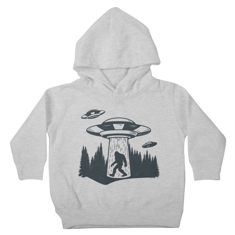 Alien UFO Abduction Of Bigfoot Kids Toddler Pullover Hoody by Toxic Onion