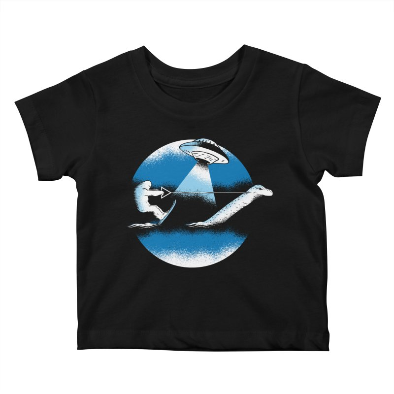 Cryptid Water Skiing Kids Baby T-Shirt by Toxic Onion