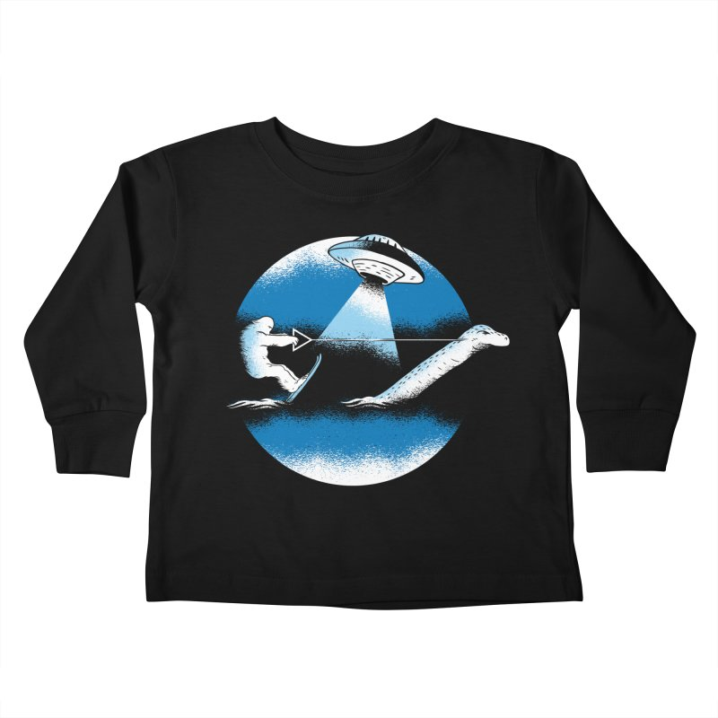 Cryptid Water Skiing Kids Toddler Longsleeve T-Shirt by Toxic Onion