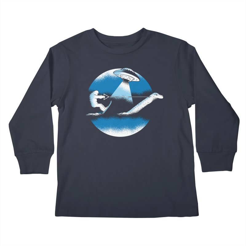 Cryptid Water Skiing Kids Longsleeve T-Shirt by Toxic Onion