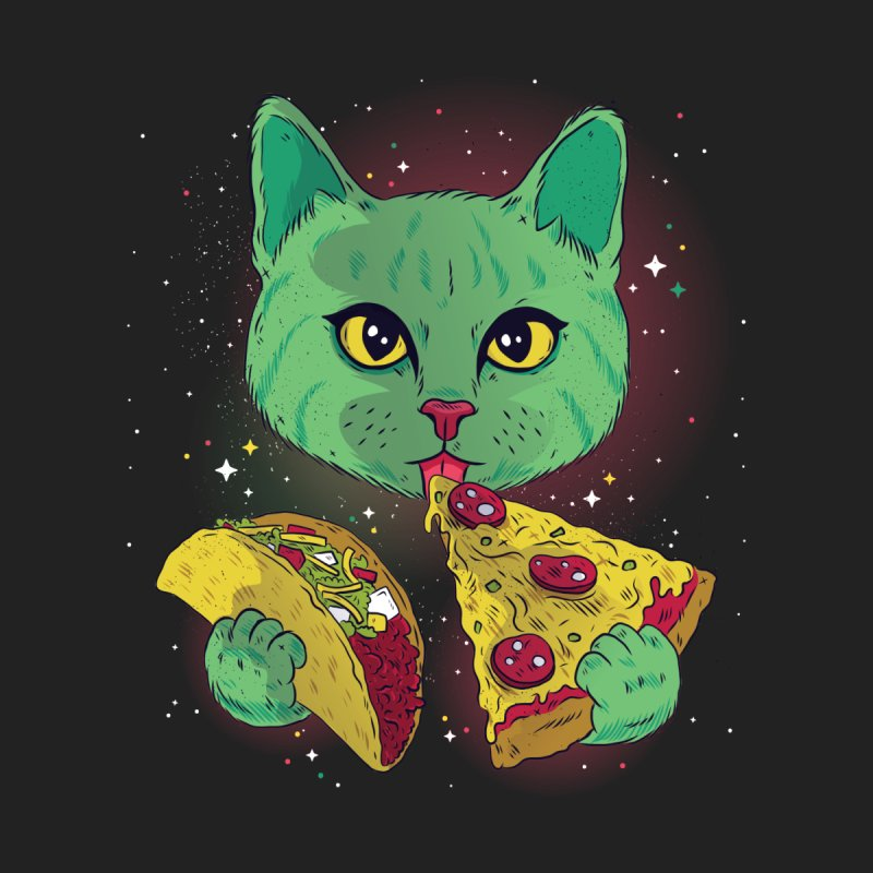Taco Pizza Cat Men's Zip-Up Hoody by Toxic Onion