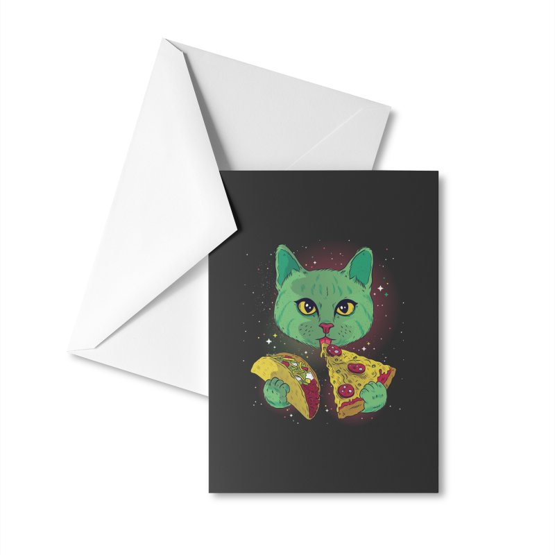 Taco Pizza Cat Accessories Greeting Card by Toxic Onion