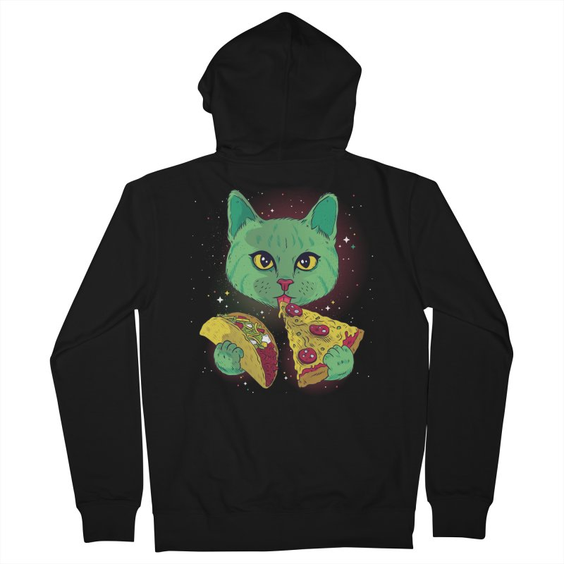 Taco Pizza Cat Women's French Terry Zip-Up Hoody by Toxic Onion