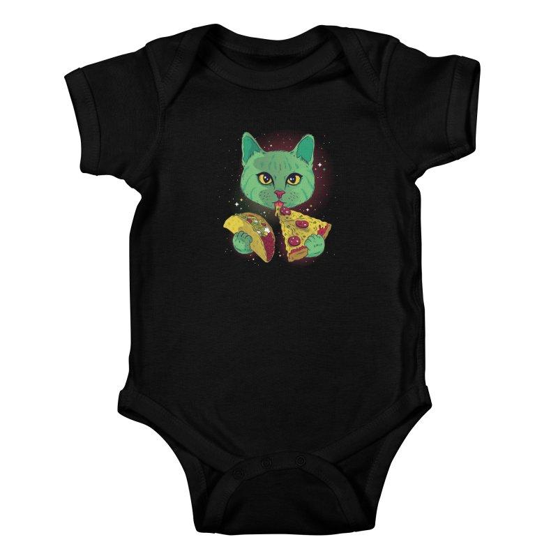 Taco Pizza Cat Kids Baby Bodysuit by Toxic Onion