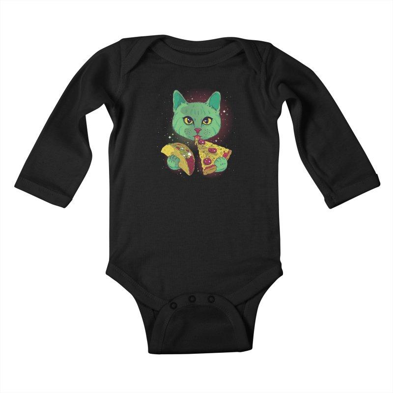 Taco Pizza Cat Kids Baby Longsleeve Bodysuit by Toxic Onion