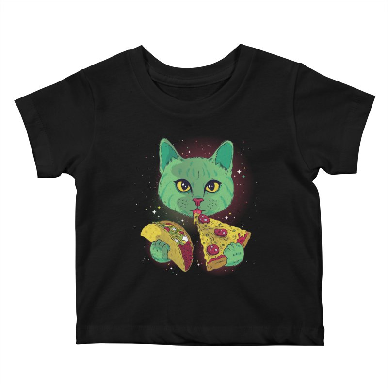 Taco Pizza Cat Kids Baby T-Shirt by Toxic Onion