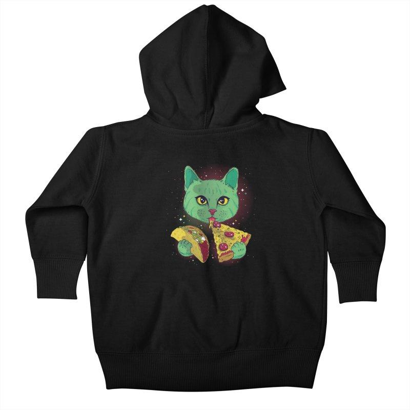 Taco Pizza Cat Kids Baby Zip-Up Hoody by Toxic Onion