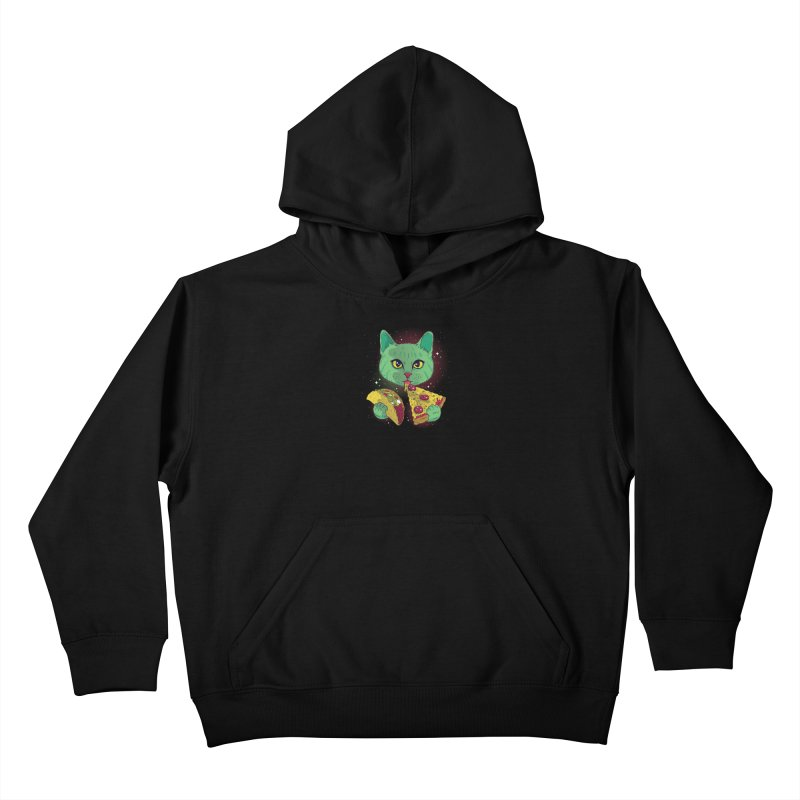 Taco Pizza Cat Kids Pullover Hoody by Toxic Onion