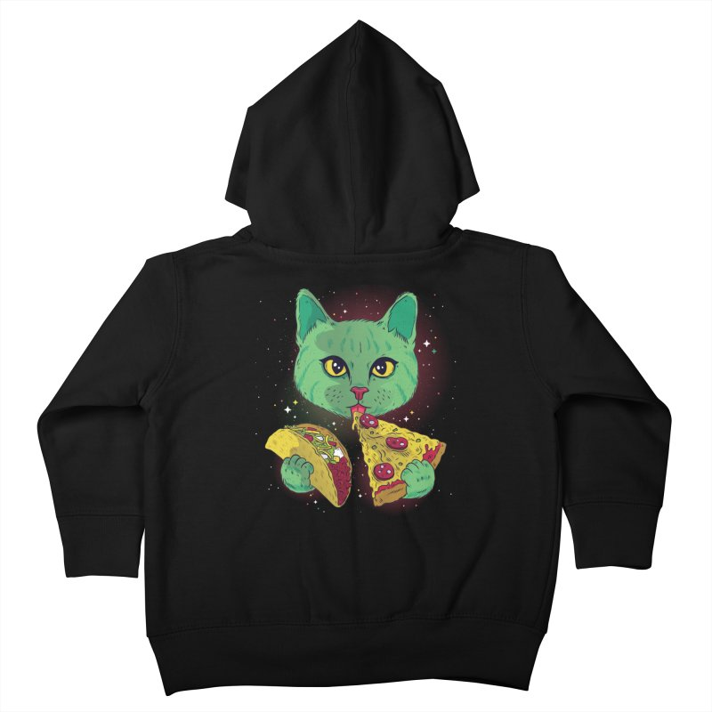 Taco Pizza Cat Kids Toddler Zip-Up Hoody by Toxic Onion
