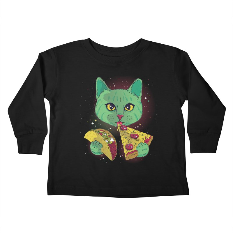 Taco Pizza Cat Kids Toddler Longsleeve T-Shirt by Toxic Onion
