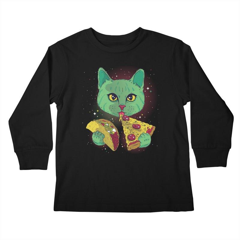 Taco Pizza Cat Kids Longsleeve T-Shirt by Toxic Onion