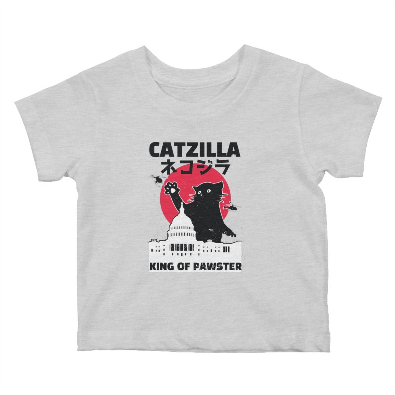 Catzilla Kids Baby T-Shirt by Toxic Onion