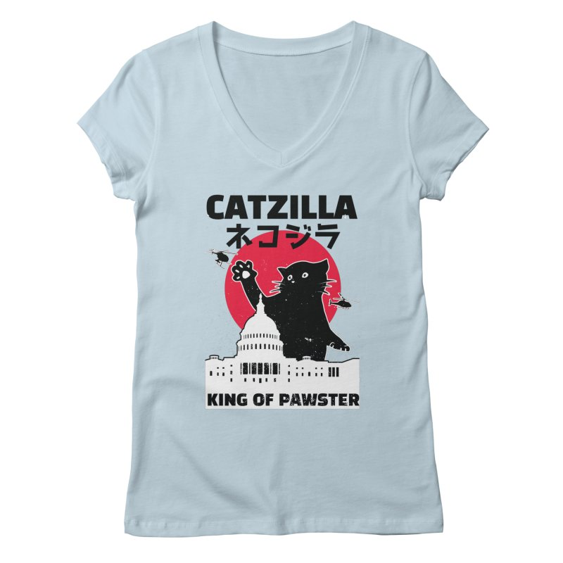 Catzilla Women's V-Neck by Toxic Onion
