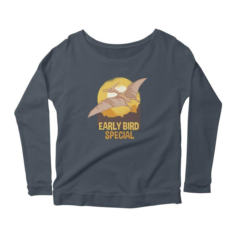 Early Bird Special Women's Scoop Neck Longsleeve T-Shirt by Toxic Onion
