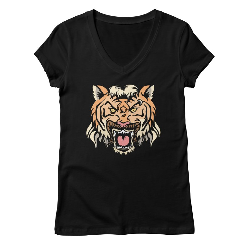 Tiger Mullet Women's V-Neck by Toxic Onion