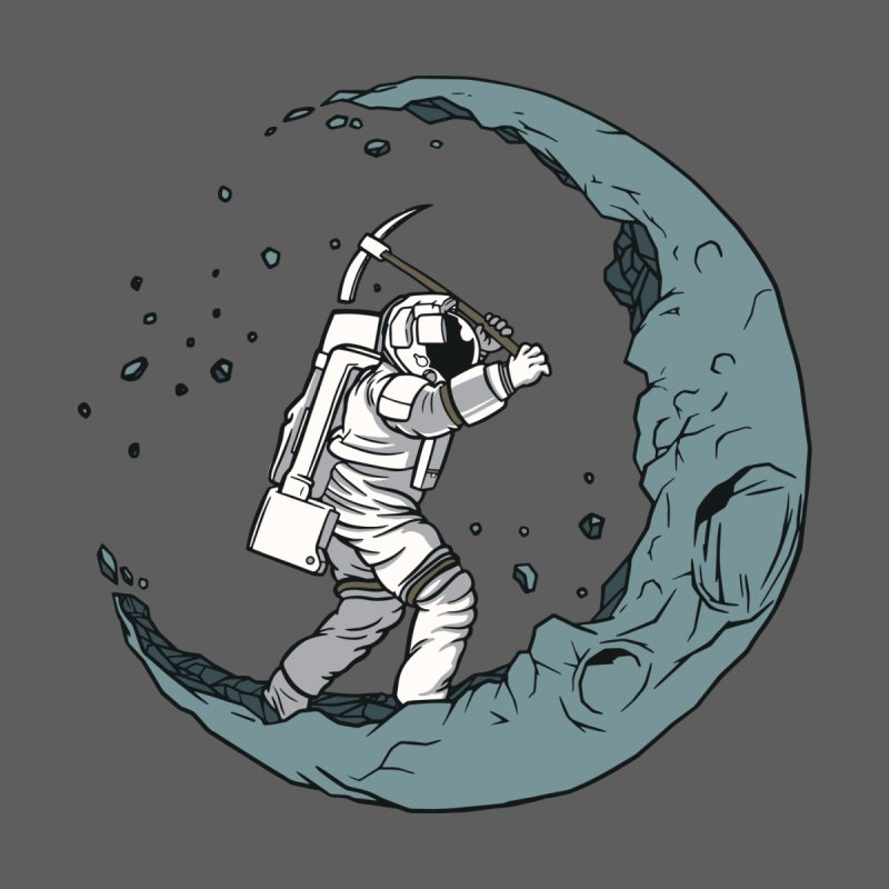 Moon Digging Astronaut Men's Longsleeve T-Shirt by Toxic Onion