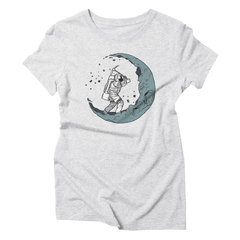 Moon Digging Astronaut Women's T-Shirt by Toxic Onion