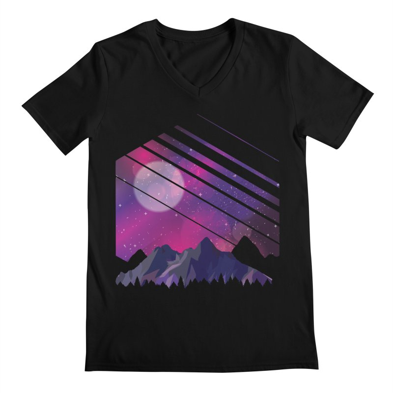 Mountain Galaxy Men's V-Neck by Toxic Onion